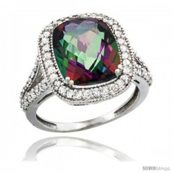14k White Gold Diamond Halo Mystic Topaz Ring Checkerboard Cushion 12x10 4.8 ct 3/4 in wide