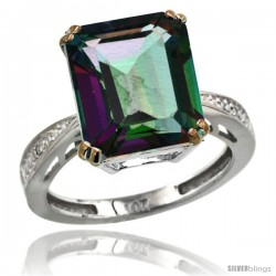 14k White Gold Diamond Mystic Topaz Ring 5.83 ct Emerald Shape 12x10 Stone 1/2 in wide -Style Cw408149