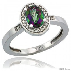 14k White Gold Diamond Mystic Topaz Ring 1 ct 7x5 Stone 1/2 in wide