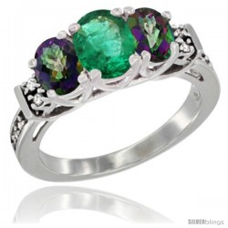 14K White Gold Natural Emerald & Mystic Topaz Ring 3-Stone Oval with Diamond Accent