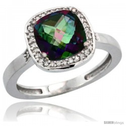 14k White Gold Diamond Mystic Topaz Ring 2.08 ct Checkerboard Cushion 8mm Stone 1/2.08 in wide