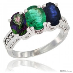 14K White Gold Natural Mystic Topaz, Emerald & Blue Sapphire Ring 3-Stone 7x5 mm Oval Diamond Accent