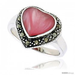 "Sterling Silver Oxidized Heart Ring w/ Pink Mother of Pearl, 9/16"" (15 mm) wide"