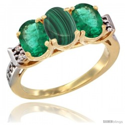 10K Yellow Gold Natural Malachite & Emerald Sides Ring 3-Stone Oval 7x5 mm Diamond Accent