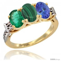10K Yellow Gold Natural Emerald, Malachite & Tanzanite Ring 3-Stone Oval 7x5 mm Diamond Accent