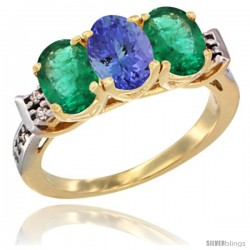 10K Yellow Gold Natural Tanzanite & Emerald Sides Ring 3-Stone Oval 7x5 mm Diamond Accent