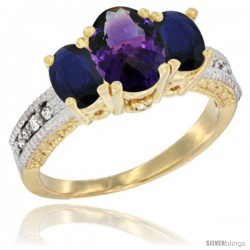 10K Yellow Gold Ladies Oval Natural Amethyst 3-Stone Ring with Blue Sapphire Sides Diamond Accent