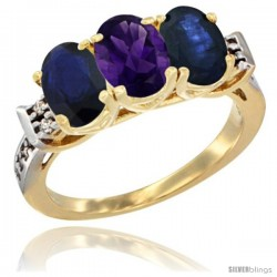 10K Yellow Gold Natural Amethyst & Blue Sapphire Sides Ring 3-Stone Oval 7x5 mm Diamond Accent