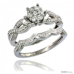 14k White Gold 2-Pc. Diamond Engagement Ring Set w/ 0.38 Carat Brilliant Cut ( H-I Color VS2-SI1 Clarity ) Diamonds, 5/16 in