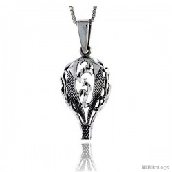 Sterling Silver Hot Air Balloon Pendant, 1 1/4 in tall -Style Pa415