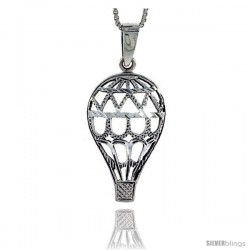 Sterling Silver Hot Air Balloon Pendant, 1 1/2 in tall