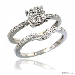 14k White Gold 2-Pc. Diamond Engagement Ring Set w/ 0.34 Carat Brilliant Cut ( H-I Color VS2-SI1 Clarity ) Diamonds, 1/4 in