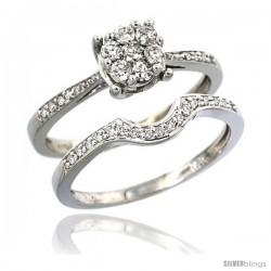 14k White Gold 2-Pc. Diamond Engagement Ring Set w/ 0.34 Carat Brilliant Cut ( H-I Color VS2-SI1 Clarity ) Diamonds, 1/4 in