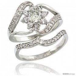 14k White Gold 2-Pc. Flower Diamond Engagement Ring Set w/ 0.38 Carat (Center) & 0.61 Carat (Sides) Brilliant Cut ( H-I Color