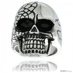 Surgical Steel Biker Skull Ring Half Covered w/ Scales