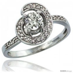 14k White Gold Swirl Diamond Engagement Ring w/ 0.46 Carat Brilliant Cut ( H-I Color SI1 Clarity ) Diamonds, 3/8 in. (10mm)