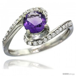 14k White Gold Natural Amethyst Swirl Design Ring 6 mm Round Shape Diamond Accent, 1/2 in wide