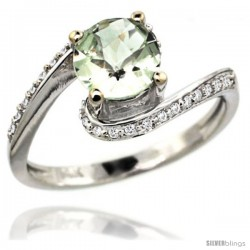 14k White Gold Natural Green Amethyst Swirl Design Ring 6 mm Round Shape Diamond Accent, 1/2 in wide