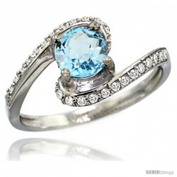 14k White Gold Sky Blue Topaz Swirl Design Ring 0.80 Carats Round Shape 0.41 cttw Diamonds, 1/2 in