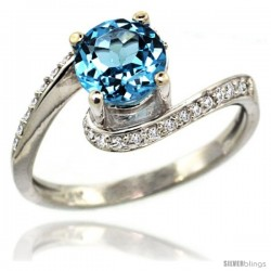 14k White Gold Natural Swiss Blue Topaz Swirl Design Ring 6 mm Round Shape Diamond Accent, 1/2 in wide