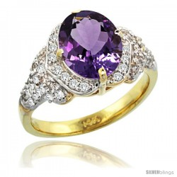 14k Gold Natural Amethyst Ring 10x8 mm Oval Shape Diamond Halo, 1/2 in wide