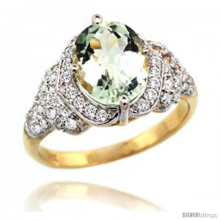 14k Gold Natural Green Amethyst Ring 10x8 mm Oval Shape Diamond Halo, 1/2 in wide