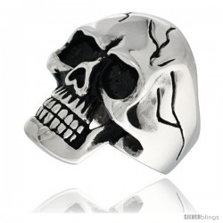 Surgical Steel Biker Skull Ring w/ Cracks on Forehead and Sides