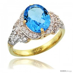 14k Gold Natural Swiss Blue Topaz Ring 10x8 mm Oval Shape Diamond Halo, 1/2 in wide