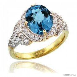 14k Gold Natural London Blue Topaz Ring 10x8 mm Oval Shape Diamond Halo, 1/2 in wide