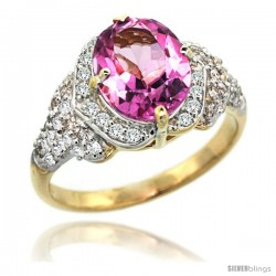14k Gold Natural Pink Topaz Ring 10x8 mm Oval Shape Diamond Halo, 1/2 in wide