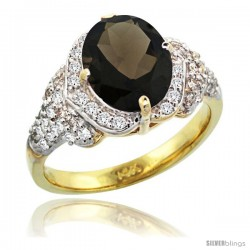 14k Gold Natural Smoky Topaz Ring 10x8 mm Oval Shape Diamond Halo, 1/2 in wide