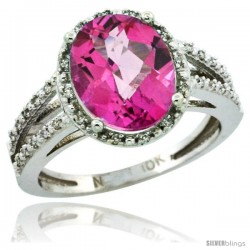 10k White Gold Diamond Halo Pink Topaz Ring 2.85 Carat Oval Shape 11X9 mm, 7/16 in (11mm) wide