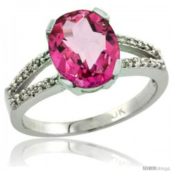 10k White Gold and Diamond Halo Pink Topaz Ring 2.4 carat Oval shape 10X8 mm, 3/8 in (10mm) wide