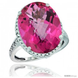 10k White Gold Diamond Pink Topaz Ring 13.56 Carat Oval Shape 18x13 mm, 3/4 in (20mm) wide