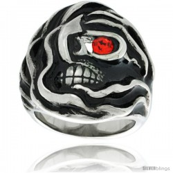 Surgical Steel Biker Ring Mummy Skull w/ Red CZ Eye