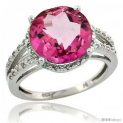 10k White Gold Diamond Pink Topaz Ring 5.25 ct Round Shape 11 mm, 1/2 in wide