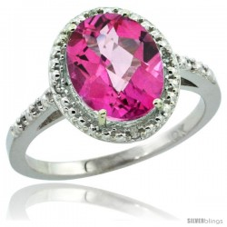 10k White Gold Diamond Pink Topaz Ring 2.4 ct Oval Stone 10x8 mm, 1/2 in wide -Style Cw906111