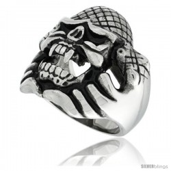 Surgical Steel Biker Ring Snake Holding Up Vampire Skull w/ Scaly Skin