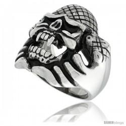 Surgical Steel Biker Ring Snake Holding Up Vampire Skull w/ Scaly Skin