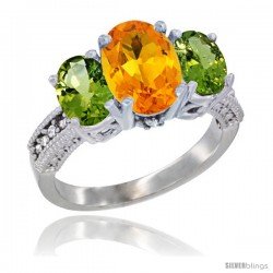 10K White Gold Ladies Natural Citrine Oval 3 Stone Ring with Peridot Sides Diamond Accent