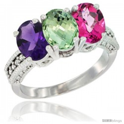 14K White Gold Natural Amethyst, Green Amethyst & Pink Topaz Ring 3-Stone 7x5 mm Oval Diamond Accent