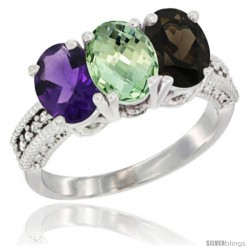 14K White Gold Natural Amethyst, Green Amethyst & Smoky Topaz Ring 3-Stone 7x5 mm Oval Diamond Accent