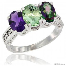 14K White Gold Natural Amethyst, Green Amethyst & Mystic Topaz Ring 3-Stone 7x5 mm Oval Diamond Accent