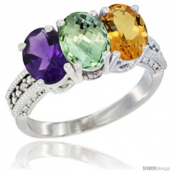 14K White Gold Natural Amethyst, Green Amethyst & Citrine Ring 3-Stone 7x5 mm Oval Diamond Accent
