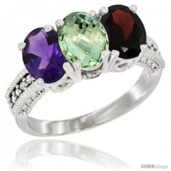 14K White Gold Natural Amethyst, Green Amethyst & Garnet Ring 3-Stone 7x5 mm Oval Diamond Accent