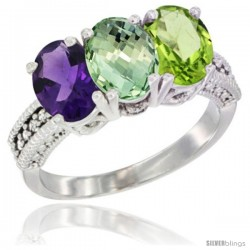 14K White Gold Natural Amethyst, Green Amethyst & Peridot Ring 3-Stone 7x5 mm Oval Diamond Accent