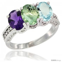 14K White Gold Natural Amethyst, Green Amethyst & Aquamarine Ring 3-Stone 7x5 mm Oval Diamond Accent