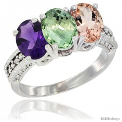 14K White Gold Natural Amethyst, Green Amethyst & Morganite Ring 3-Stone 7x5 mm Oval Diamond Accent