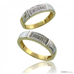 Gold Plated Sterling Silver Diamond 2 Piece Wedding Ring Set His 5mm & Hers 4.5mm