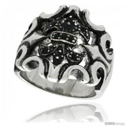 Surgical Steel Biker Ring Fleur De Lis Armor W/ Black CZ Stones